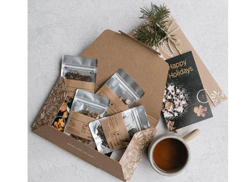 Tea Box From Amoda showing four boxes of loose leaf tea
