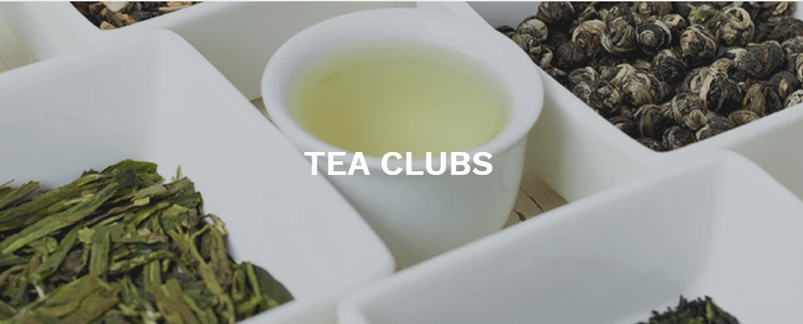white square bowls with loose tea with a cup of hot water in the middle in white font it states Tea Clubs