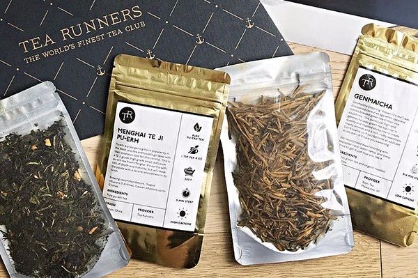 A selection of four different loose leaf teas from tea runners