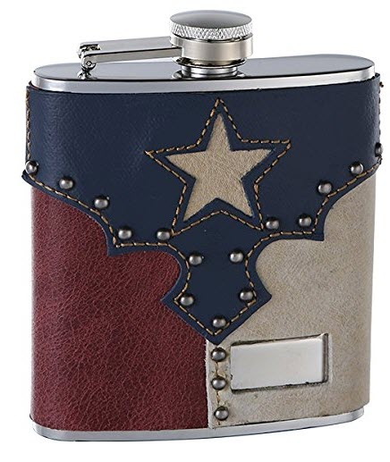 A leather flask designed to look like the Texas flag.