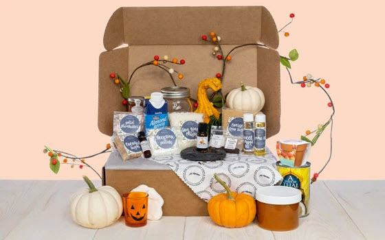 A fall Essentially Simple box containing various essential oils and body-related products