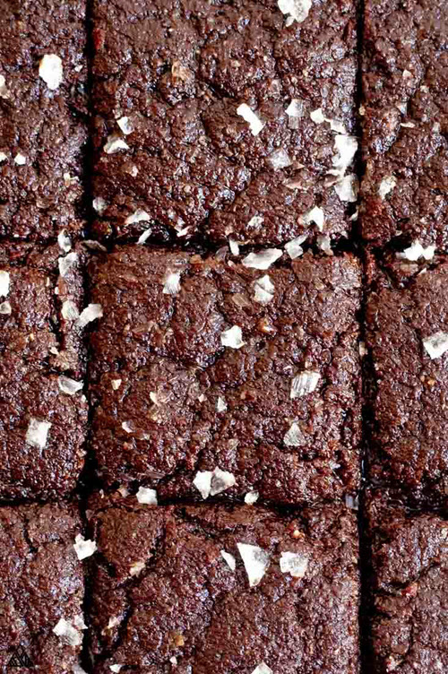 A close up image of scored brownies