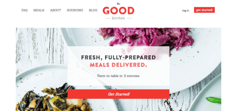 The Good Kitchen website screenshot showing red cabbage and a spinach dish