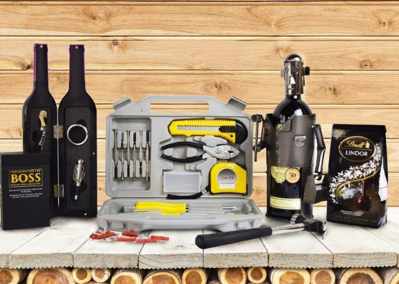 Selection of handyman-related tools with chocolate