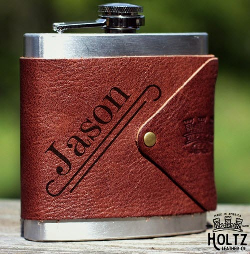 Stainless steel flask encompassed with leather