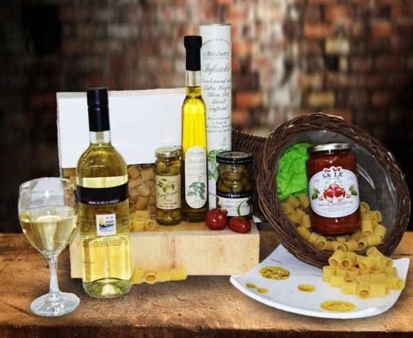 Wine, pasta, olives and pasta sauce