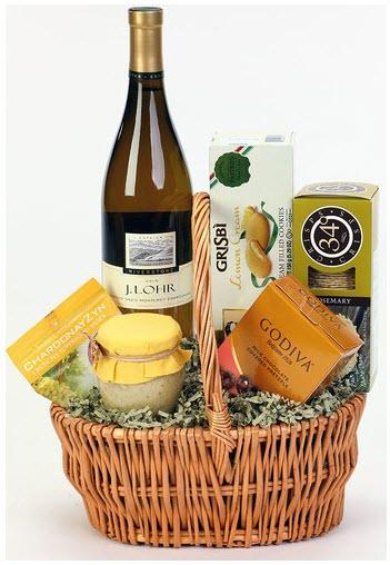 An orange basket with snacks