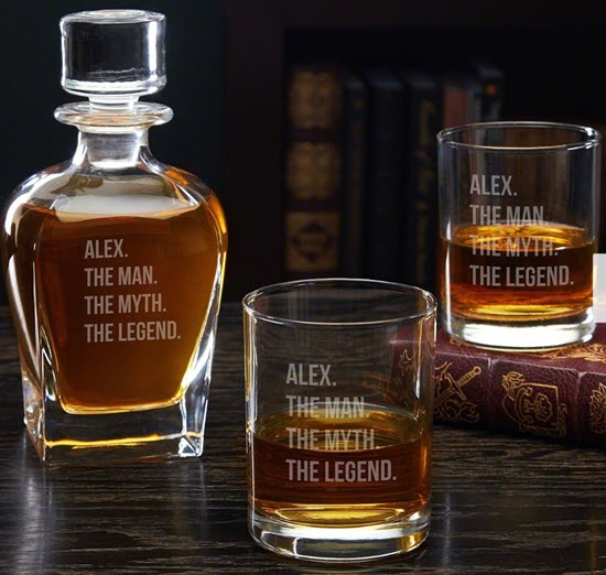 A whiskey decanter with glasses