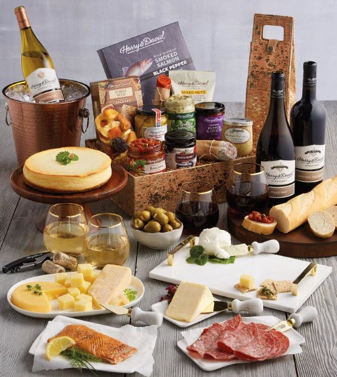 Wide selection of treats, including wine and cheese