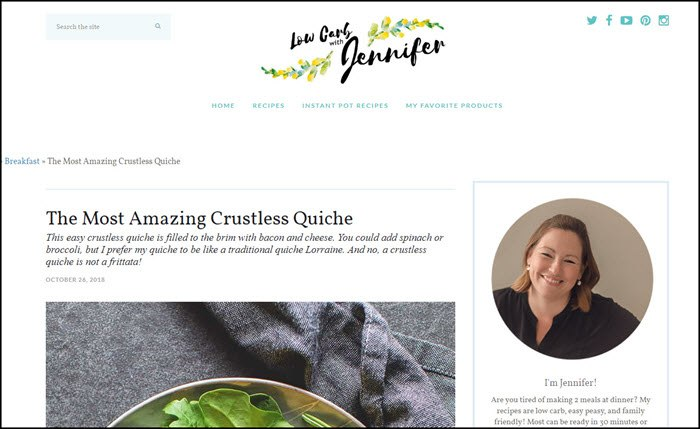 Website screenshot from Low Carb with Jennifer.