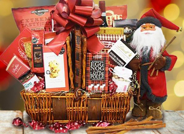 Old-fashioned Santa next to a basket