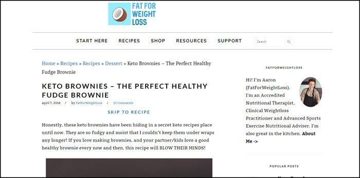 Website screenshot from Fat For Weight Loss