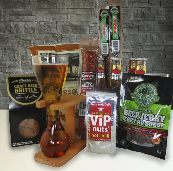 A selection of products including bottles of beer, snacks and a quarter yard glass (with stand)