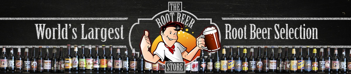 Long photo that says  Wolrds largest root beer selection The root beer store with a cartoon character man with a white shirt giving a thumbs up and the other hand is holding a root beer on the bottom of the photo is a long line of various bottles of root beer
