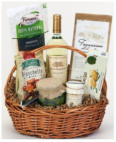 A orange gift basket with fresh food