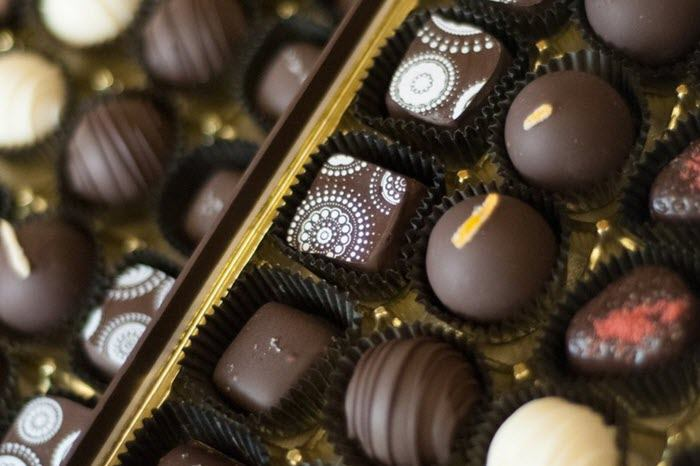 Selection of chocolates in a box