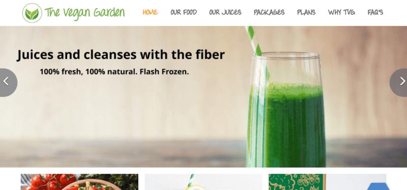 The Vegan Garden website screenshot, showing a green smoothie