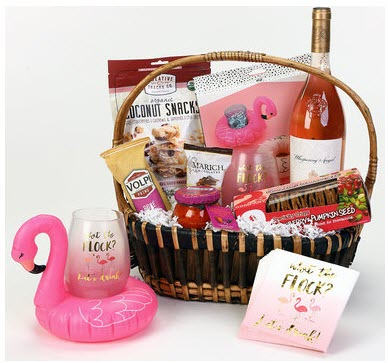 Wine basket with What the Flock