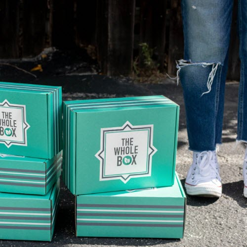 2 stacks of teal boxes