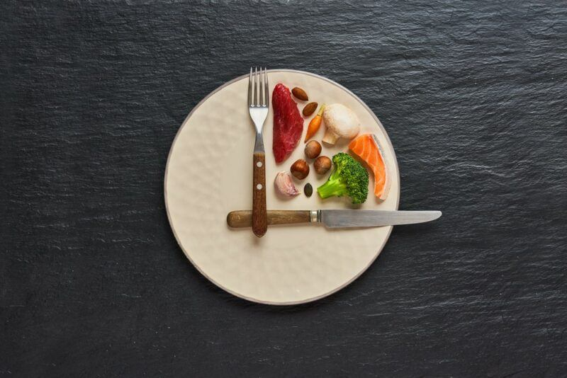 A white plate designed to look like a clock with food in just one quarter of it