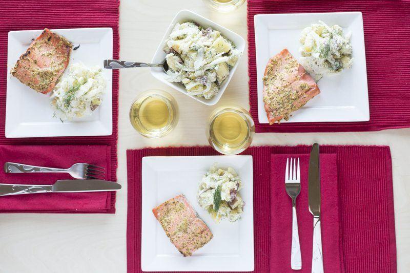 Three-Settings-Square-Plates-Salmon-Potato-Salad