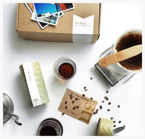 A box of coffee with various related products