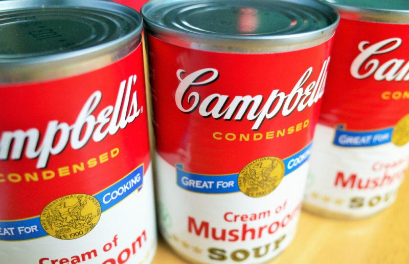 Three cans of Campbell's Condensed Soup