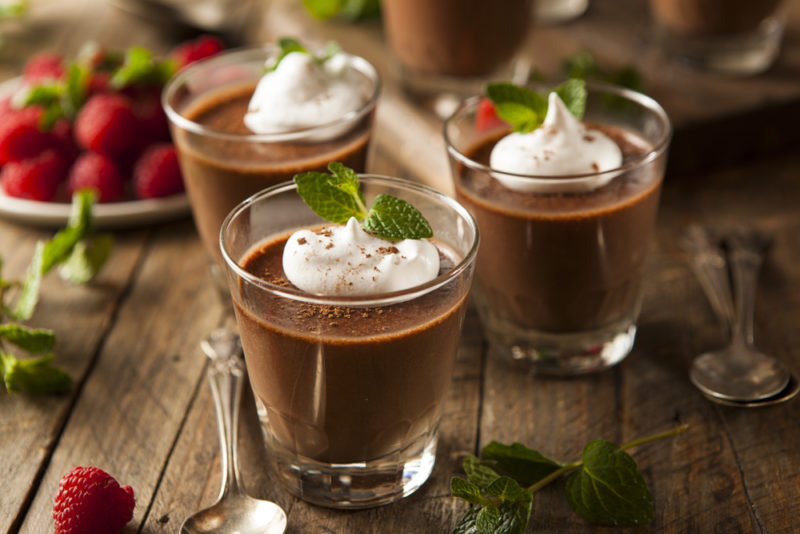 Three glasses of chocolate mousse