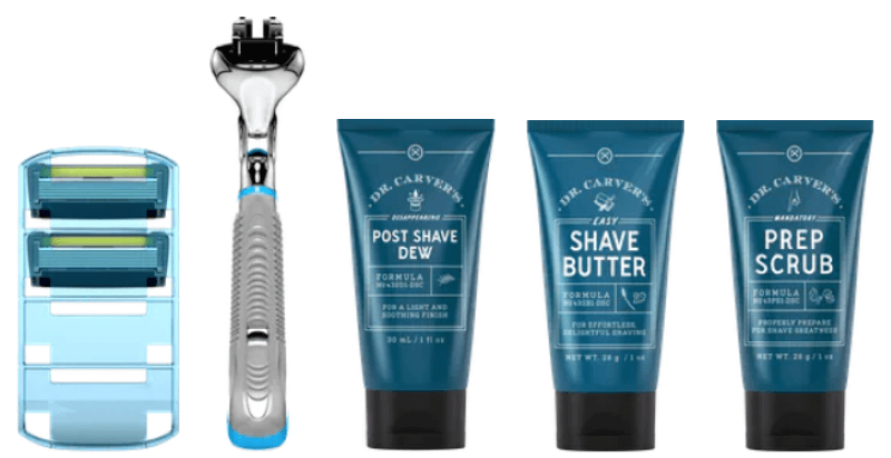 Three tubes of shave products and razor handle with refills