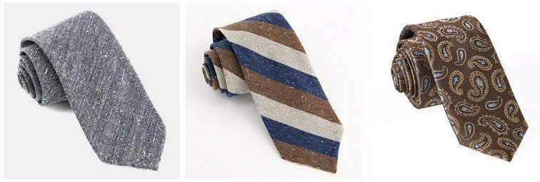 A selection of three different ties from The Tie Bar