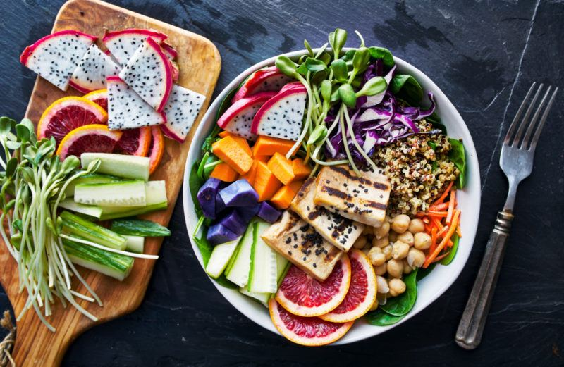 A bowl of tofu, dragonfruit and other healthy ingredients