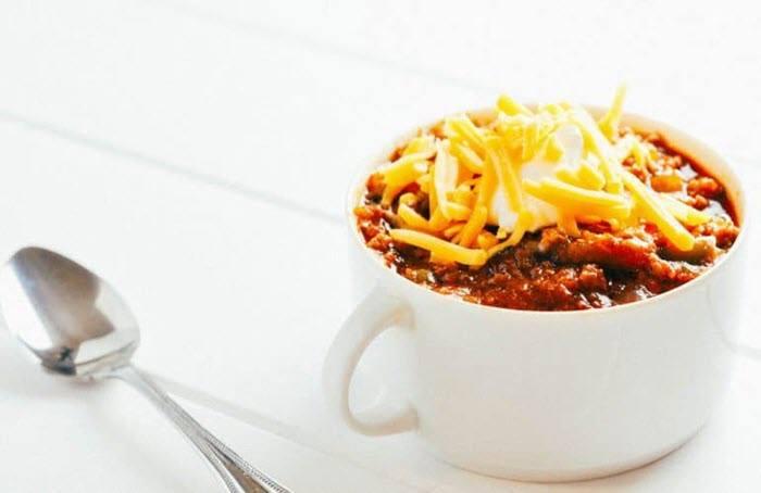 A white mug of chili
