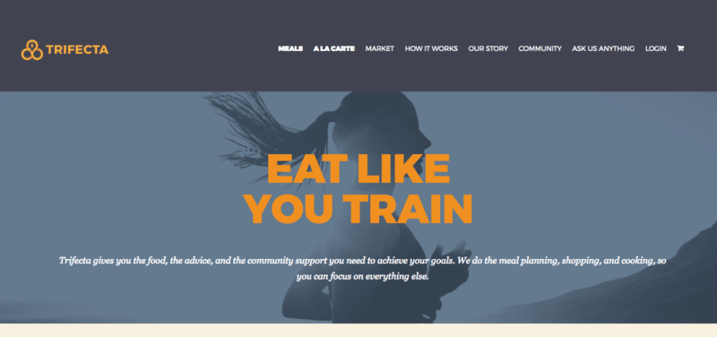 Trifecta website screenshot, showing a woman running, with the words 'Eat Like You Train'