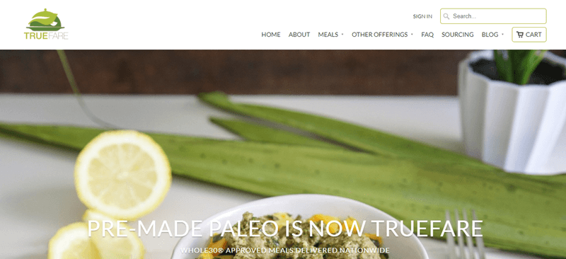 TrueFare website screenshot showing aloe and lemons, along with part of a meal