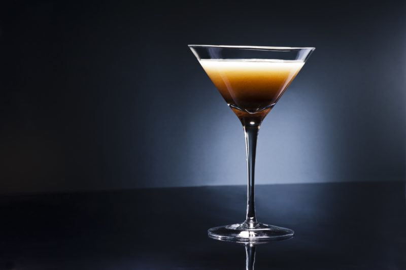 A Turkish coffee sour in a cocktail glass