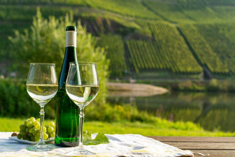 Two glasses of German riesling next to a bottle of the wine outside with the hills of a German wineary region in the background