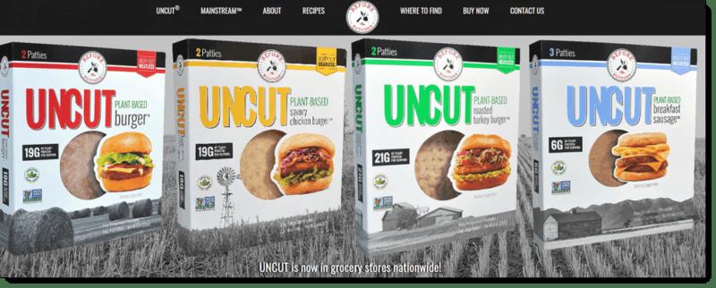 Four types of Uncut plant-based burger patties