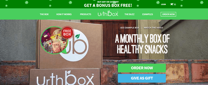 UrthBox website screenshot showing two boxes from the company against a brick doorstep.