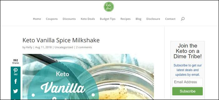 Website screenshot from Keto on a Dime