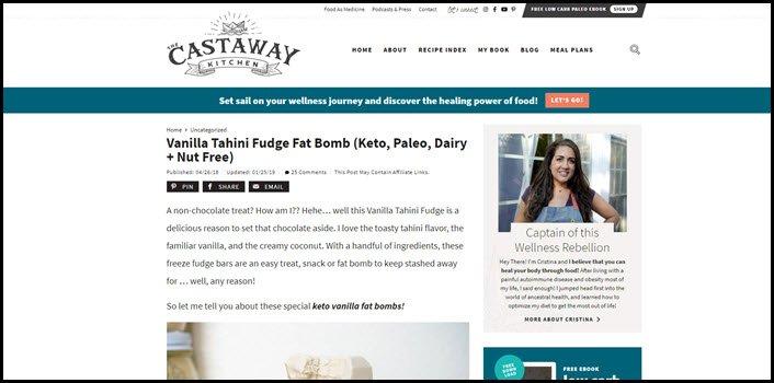 Website screenshot from The Castaway Kitchen