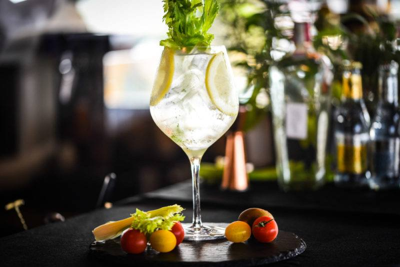A gin and tonic that relies on celery and a variety of other ingredients