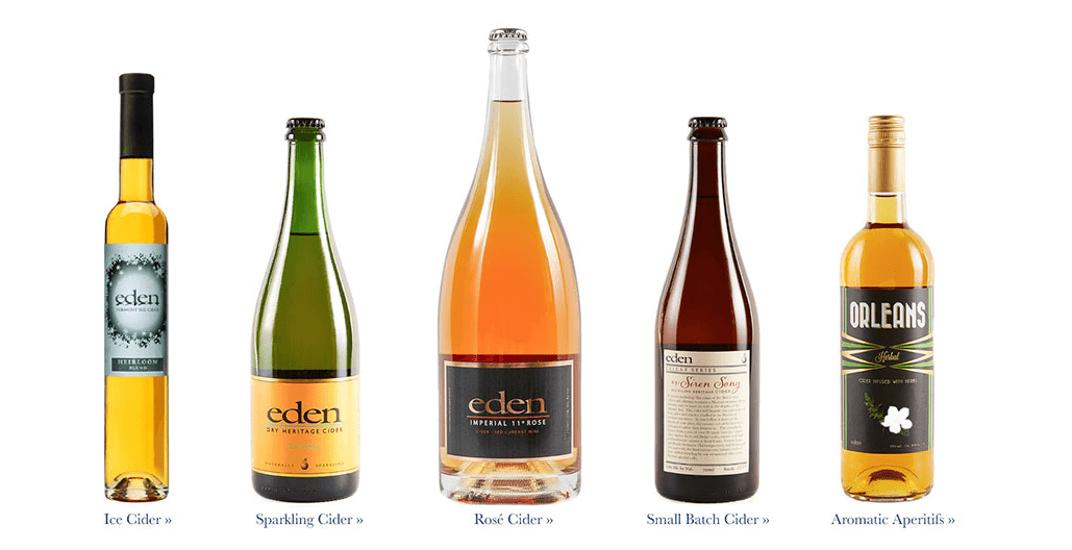 5 large bottles of Eden Cider, from left to right: Ice Cider, Sparkling Cider, Rose Cider, Small Batch Cider, Orleans Cider