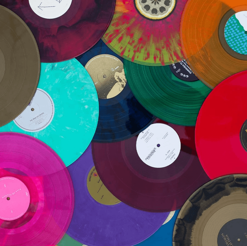 Vibrant colorful records scattered together