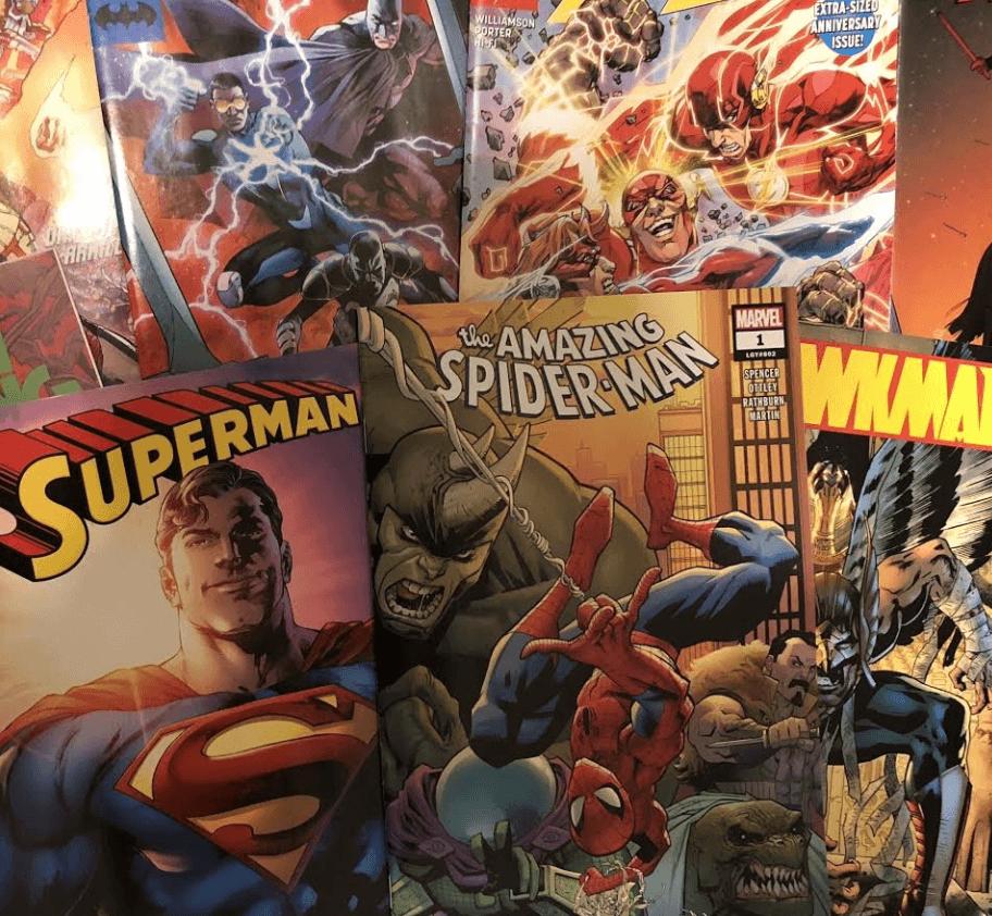 Photo of several super hero comic books