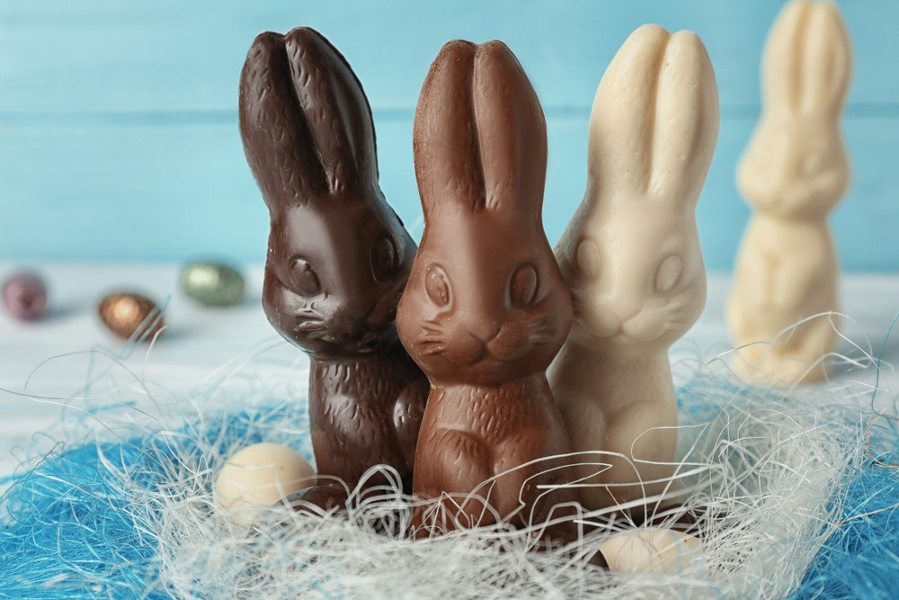 Four Easter bunnies, one dark chocolate, one milk, and two white chocolate, three of which are in a nest