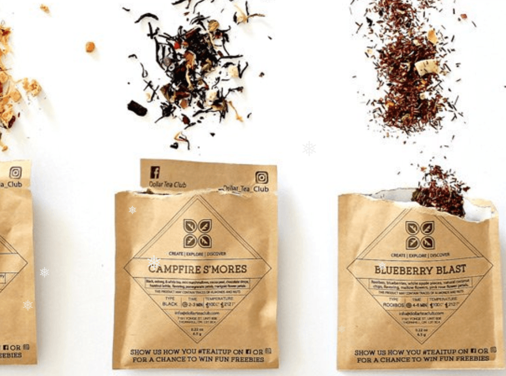 Loose tea in 2 brown envelopes  the one on the left says campfire s'mores and the other Blueberry Blast