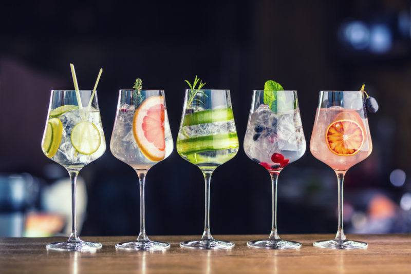 Various types of gin and tonic cocktail