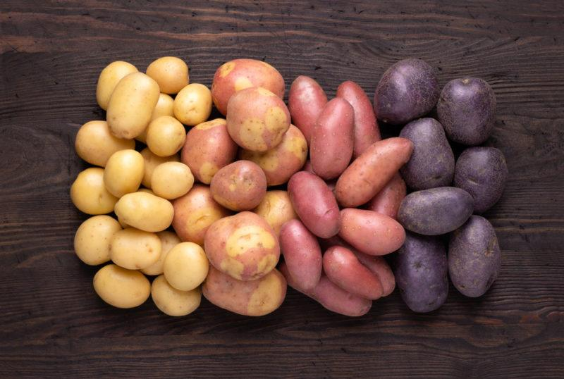 Four types of potato, ranging from white to purple, laid out in groups on a wooden table