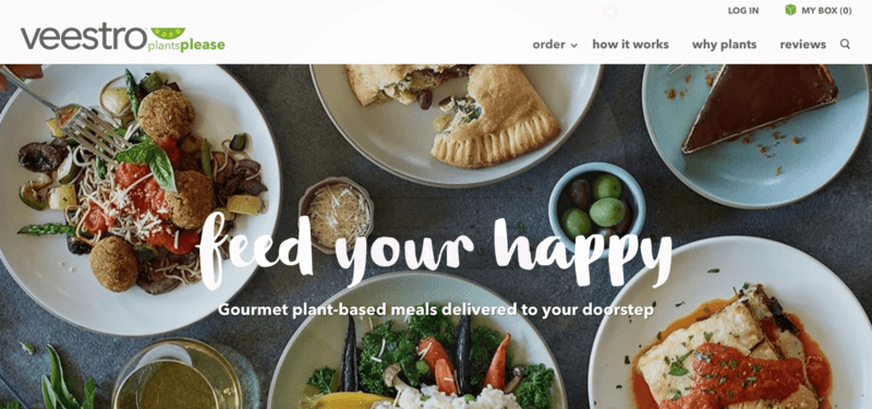 Veestro website screenshot showing four meals, one dessert and some ingredients.