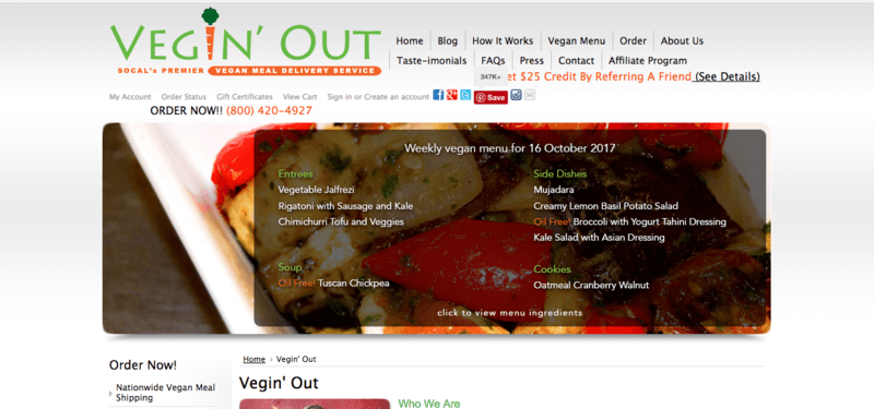 Vegin' Out Website Screenshot showing a plate of roast veggies with the menu overlaid.